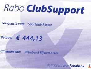 Mooi bedrag dankzij Rabobank Clubsupport!