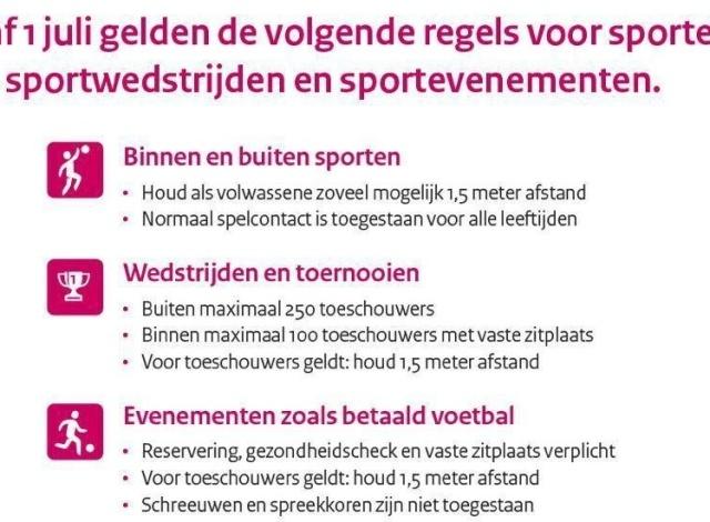 Per 1 juli zowel binnen- als buiten sporten weer toegestaan